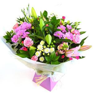 Flowers, D2F Best Seller Hand-Tie. Let the florist choose the best pink and lilac blooms of the day.