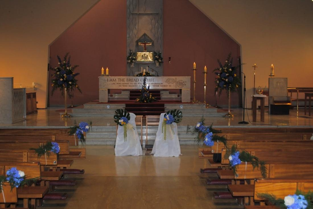 Flowers, Church flowers (pew ends, chairs, candelabras and altar flower arrangements). Large range o