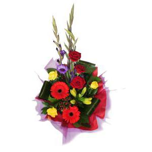 Flowers, Royal Blue. A delightfully regal bouquet. Stunning combination of reds and blues. Flexible