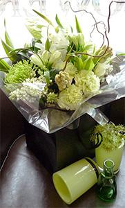 Flowers, Strikingly Modern Hand-tie. In cream, green and whites this splendid hand tie includes best