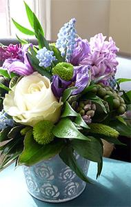 Flowers, Petite Posy. Select flowers in blue and white in an attractive container.