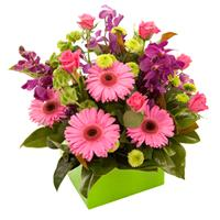 Flowers. Exciting Blooms Of Colour. A hand tie of colourful blooms.