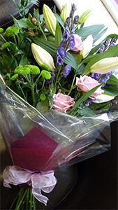 Flowers. Cut Flower Bouquet. Bouquet of fresh flowers in attractive pinks, lime greens and blues.