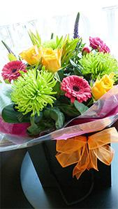 Flowers. A Splash Of Colour. Vibrant mix of citrus colours in mixed flowers.