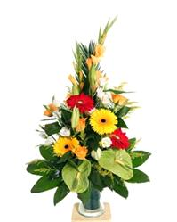 Flowers. Drama Queen. Large display of lilies, anthurium, eustoma, bamboo and glossy foliage.