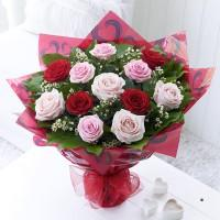 Flowers, Mixed Rose Hand-Tied. The very best red roses, pink roses and pale pink roses, expertly han