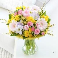 Flowers, Scented Spring Perfect Vase Arrangement. Pink alstroemeria, lilac freesias, pale pink germi