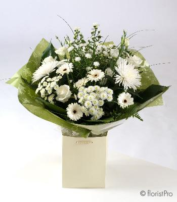 Flowers, Pure. Hand-tied bouquet of seasonal white and green flowers and foliage. Only available in
