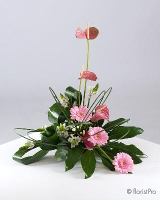 Flowers, Melody. Beautiful, modern pink arrangement with Gerberas and foliage. Only available in our