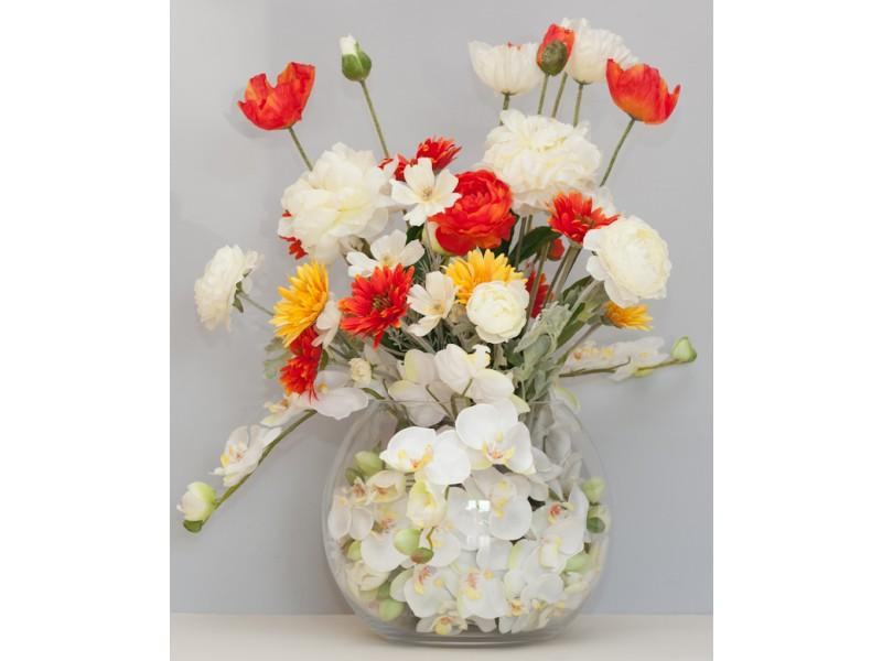Flowers, Custom-design arrangement. An arrangement in a Glass bowl including Orchids, Gerbera, Icela
