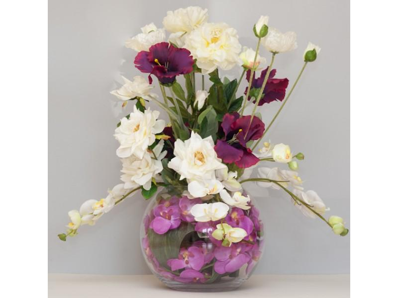Flowers, Custom-design arrangement. An arrangement in a Glass bowl including Orchids, Roses, Iceland