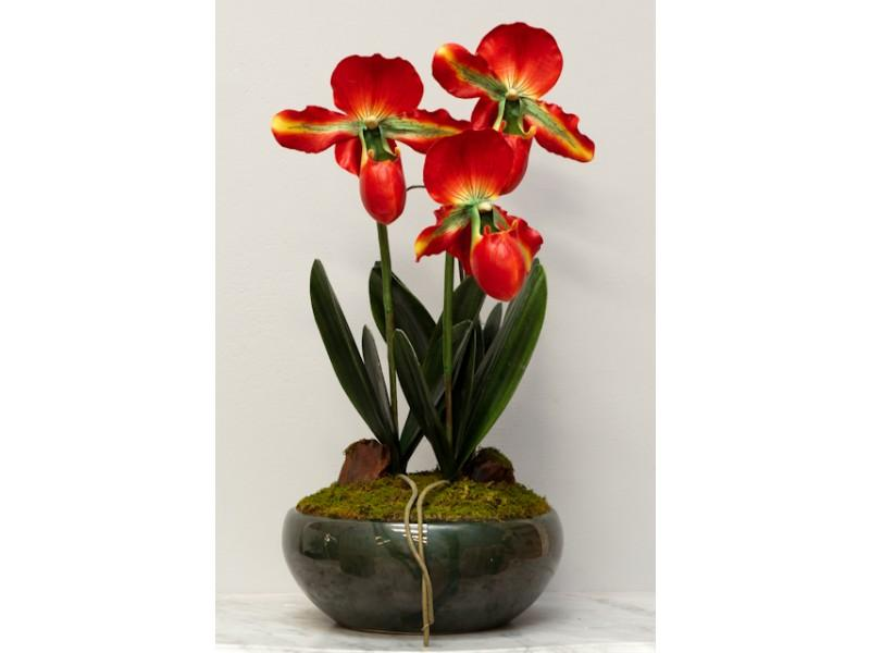 Flowers, A beautiful arrangement of 3 flowers in Red and Green with a dark green pot.