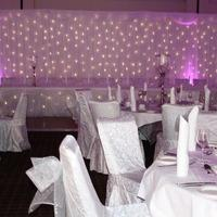 Decor & Event Styling. Fairy lights draped with fabric and the top table.