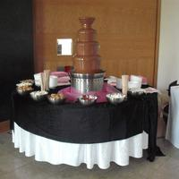 Chocolate Fountains, Milk chocolate fountain with various dipping foods.