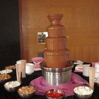 Chocolate Fountains, Chocolate fountain with various dipping foods.