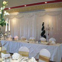 Back Drops And Table Linen, White back drop with fairy lights.