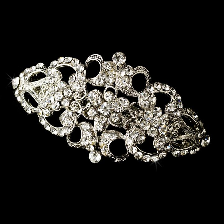 Jewellery, Mandy. Art deco crystal barrette. This piece is abounded with crystals and can also be wo