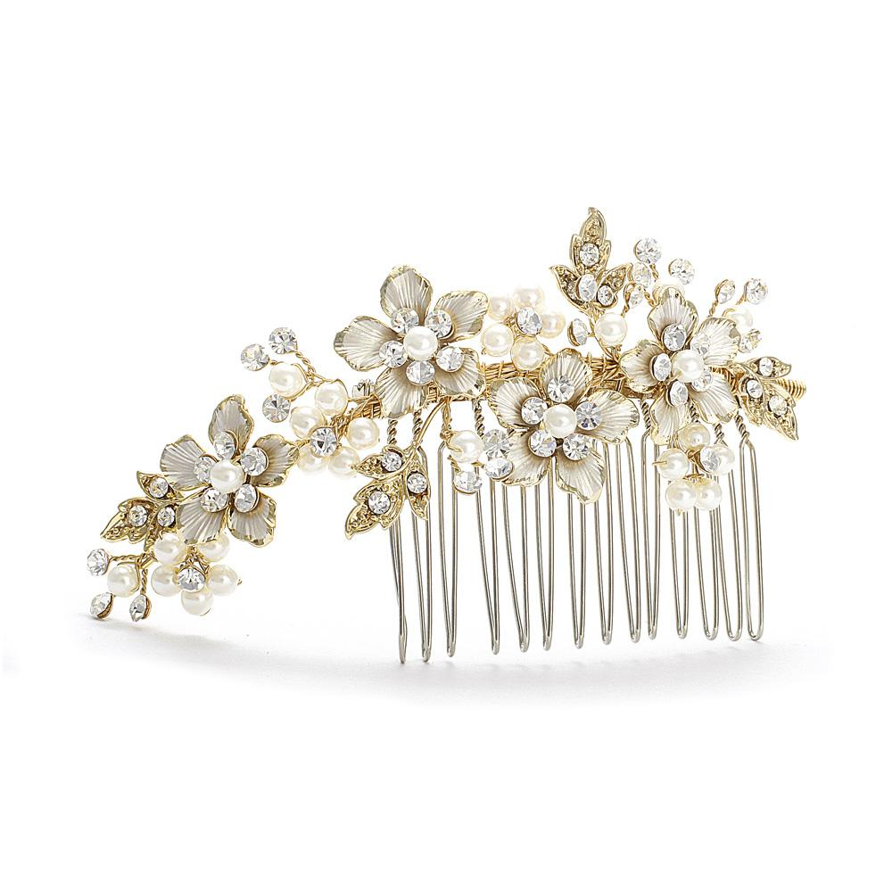 Jewellery, Ava. An exquisite gold tone comb with crystal and pearl settings, very detailed. stunning