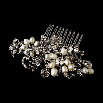 Jewellery, Susan. Antique silver and pearl comb with marquise and round cut stones, embellished with