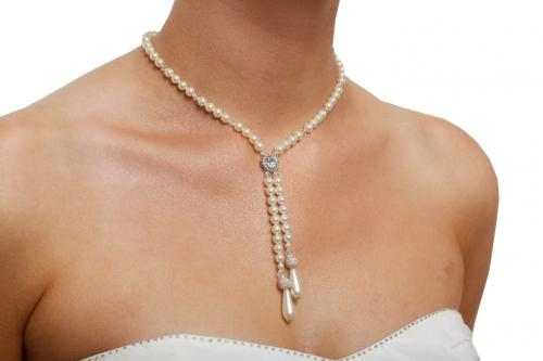 Jewellery, The Persephone. Delicate 6mm Swarovski pearl and crystal bridal necklace, joining with a