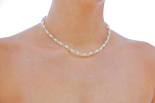 Jewellery, The Delilah. 6mm Swarovski pearl and 6mm clear Swarovski crystal necklace with filligree
