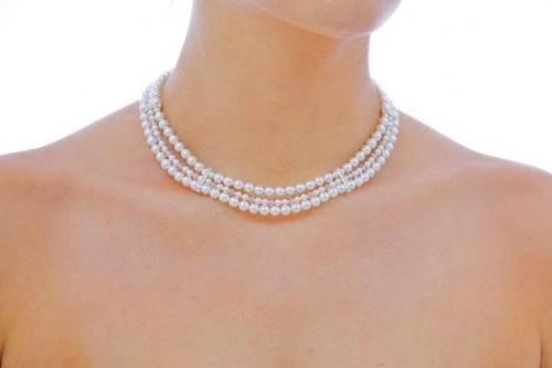Jewellery, The Elizabeth. Three strand, art-deco style necklace comprising of 6mm and 4mm Swarovski