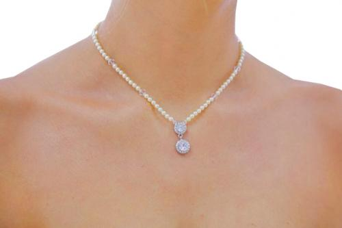 Jewellery, The Belle. Delicate necklace of 4mm Swarovski pearl and Swarovski crystal bicones. Vintag