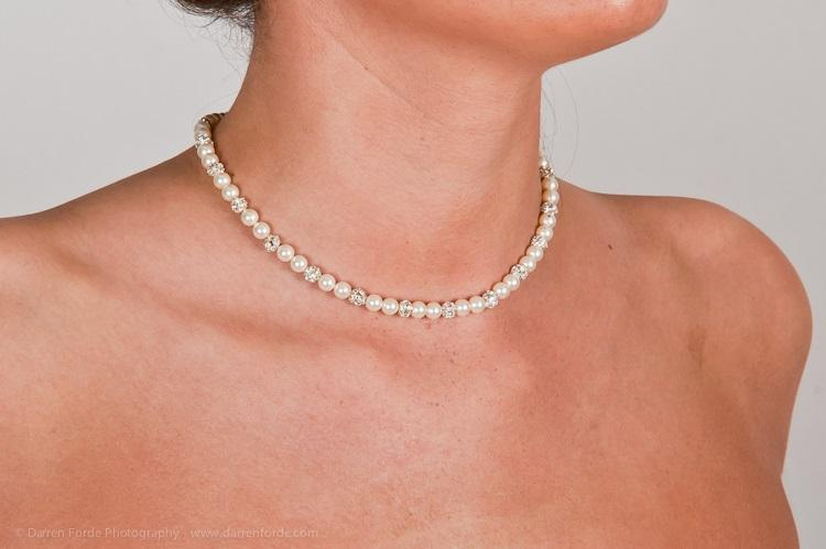 Jewellery, Cleo. Cleo is a simple and elegant bridal necklace made from Swarovski Pearls and Crystal