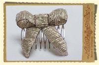 Jewellery. Vintage Style Gold Beaded Bow hair comb.