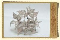 Jewellery. Large beaded floral hair comb, in clear/silver with champagne trim and pearl stamen and c