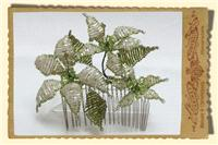 Jewellery. Three Flower Hair Comb, in cream with lime green trim and beaded leaves.
