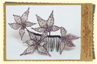 Jewellery. Large Star Flower Hair Comb, with pearl centre.