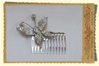 Jewellery. Beaded Butterfly Hair Comb, in cream and trimmed in gold tones.