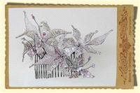 Jewellery. Beaded flower and butterfly comb, in clear and lilac tones.