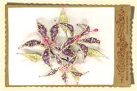 Jewellery. Beaded Floral Head-Piece. Plum and green beaded flowers with Swarovski crystals.