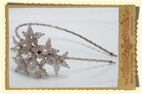 Jewellery. Beaded Daisy Cluster Headpiece, vintage style daisy hairband in clear/silver with champag