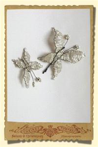 Jewellery. Large beaded butterfly hairclip in ivory with gold trim and matching small butterfly broo