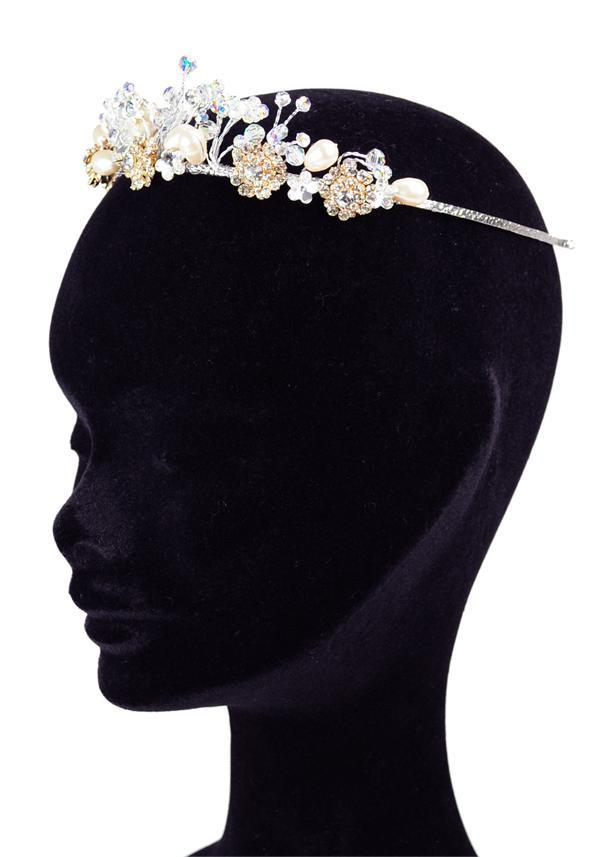 Jewellery, Linzy Jay headband (Ref. IZFH3028 37836078). Stunning flower tiara with pearls and Swarov