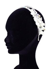 Jewellery. Linzy Jay headpiece (Ref. LIZMAGGIE 37807979) with a diamonte band and a pearl flower fit