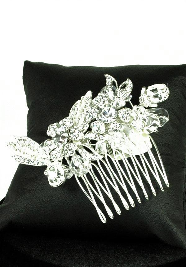 Jewellery, Crystal Comb (Ref. RYCCOMO57). Diamante and crystal comb with mini flower detail to the c