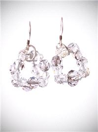 Jewellery. Crystal Ball. Swarovski Crystal cluster earrings in a subtle silver shade, on sterling si