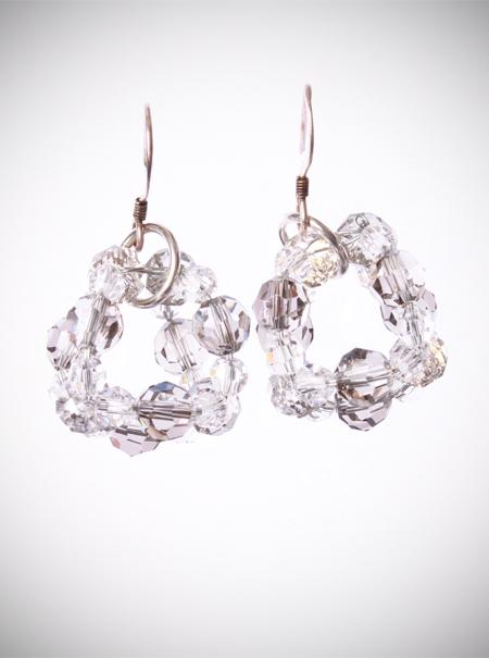 Jewellery, Crystal Ball. Swarovski Crystal cluster earrings in a subtle silver shade, on sterling si