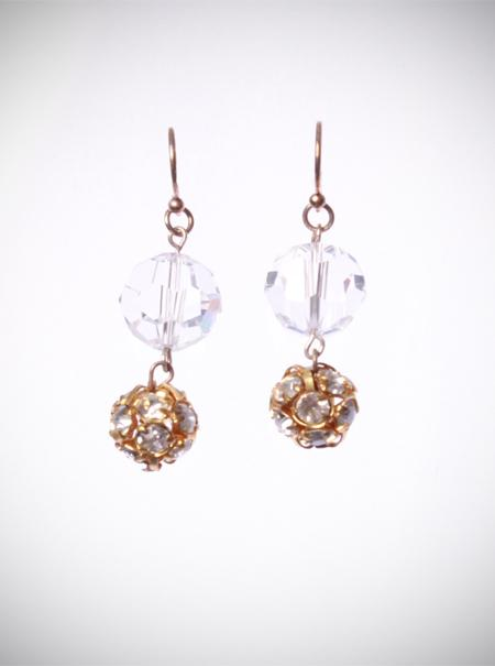 Jewellery, Gold Cluster Earrings. Drop earrings with a 10mm clear Swarovski crystal on top and an 8m