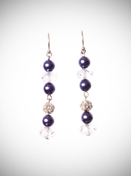 Jewellery, Navy Pearl Drops earrings. Drop earrings with Swarovski crystal, navy pearls and silver d