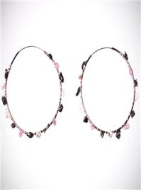 Jewellery. Gemstone Hoops. Abstract gemstones in rose quartz, jet and clear quartz are woven onto ho