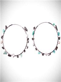 Jewellery. Turquoise Gemstone Hoops. Abstract gemstones in turquoise, Jet and pewter crystal are wov