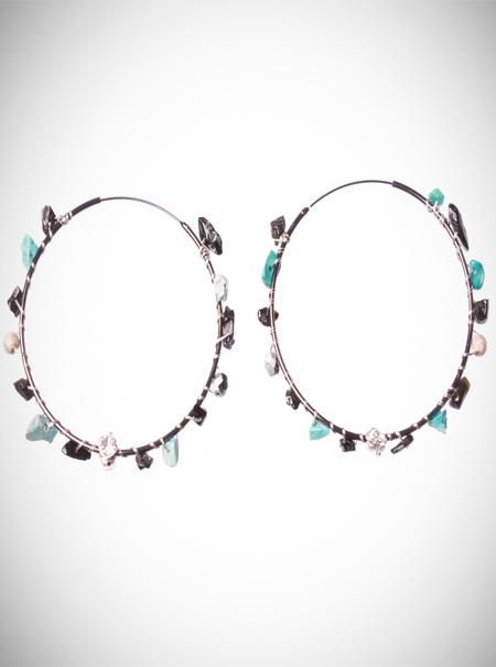 Jewellery, Turquoise Gemstone Hoops. Abstract gemstones in turquoise, Jet and pewter crystal are wov