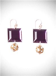 Jewellery. Purple Squares. Perspex square crystals are attached to gold diamante clusters. Great for