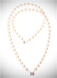 Jewellery. Long Pearl Necklace. This neck piece is designed with 8mm cream pearls with a small silve