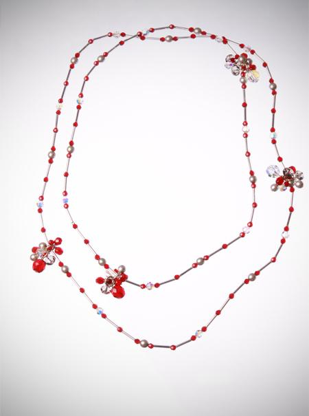 Jewellery, Red Berry Cluster Necklace. This neck piece can be worn as one long chain or doubled into